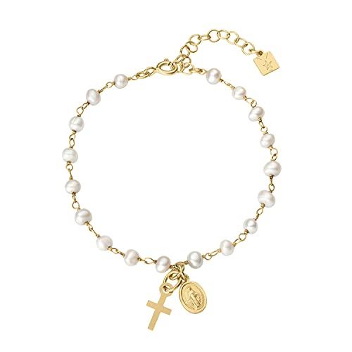 Pulsera medalla virgen Milagrosa con cruz de plata 925 bañada en oro 18 quilates, cadena rosario de perlas ajustable con cadena extensible, regalo mujer, niña, entregado en caja y envoltorio de regalo
