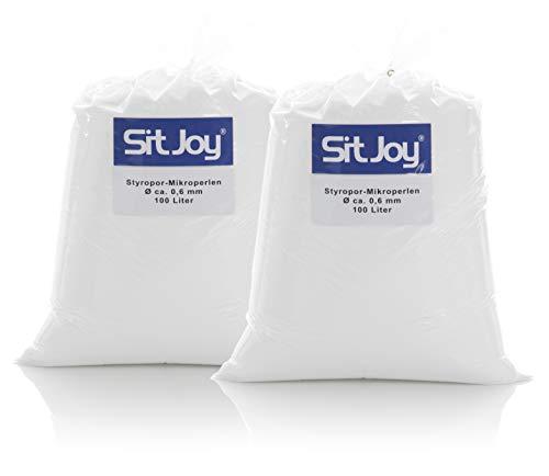 Sitjoy Sitzsack-Füllung | Styropor-Mikro-Perlen [Ø ca. 0,6 mm] | 200 Liter | Nachfüllbeutel – EPS Styropor-Kugeln und Kügelchen für Kissen