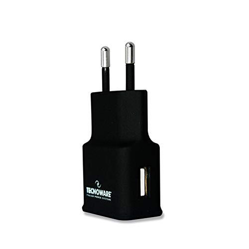 Tecnoware Caricabatterie - per Smartphone e Tablet di ogni generazione, Navigatore satellitare, Foto/video camera, Lettore multimediale MP3/MP4, iPad, iPhone, iPod - 1 Porta USB da 5 Volt 2,1 Ampere