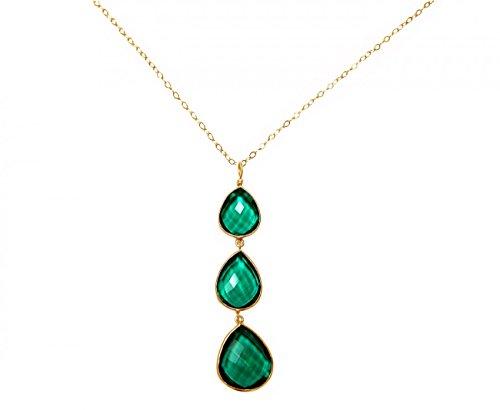 Gemshine - Damen - Halskette - Anhänger - 925 Silber - Vergoldet - Turmalin Quarz - Grün - CANDY - Tropfen - 9 cm