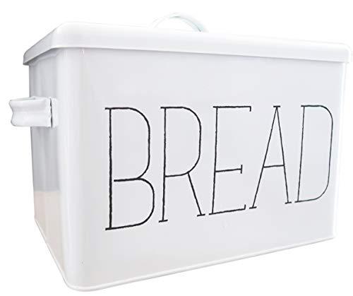Farmhouse Metal Bread Box - Stylish Bread Boxes for Kitchen Counter - Vintage Breadbox - Countertop Bread Storage Bin with Lid - Decorative Enamel Bread Holder with Bread Lettering - White