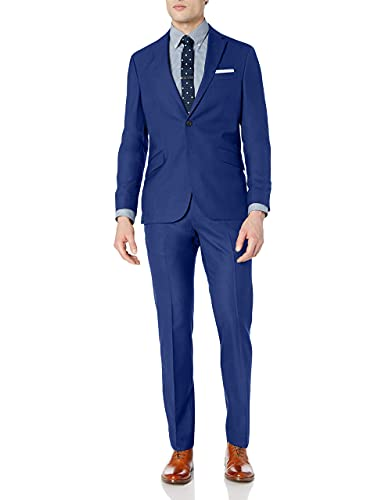 Kenneth Cole Unlisted Men's 2 Button Slim Fit Suit with Hemmed Pant, hot Blue, 44 Short