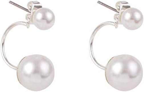 Tcplyn Special sale item Silver Double Ball El Paso Mall Ear Zirconia Set Cubic Jacket Earrings