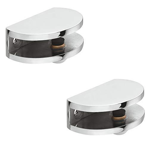 Gedotec DESIGN Glasbodenträger Tablarträger Klemmtablarträger Modell Primus | Edelstahl Optik | Fachbodenträger für Holz und Glas | Regalbodenträger für Tablardicke 8-10 mm | 2 Stück