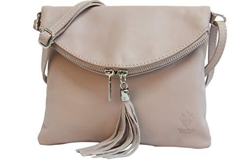 AMBRA Moda italiana bolso bandora de cuero suave embrague pequeñas bolsas de hombro de mujer NL610 (rosa nudo)