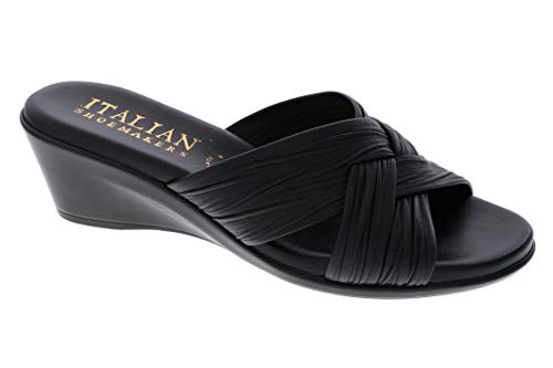 ITALIAN SHOEMAKERS Womens Saylor Wedge Sandal (7 M US, Black)