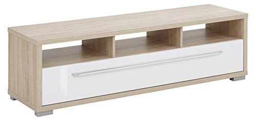 MAJA Möbel Media Modelle Holz Lowboard, Holzwerkstoff melaminharzbeschichtet, Sonoma-Eiche - Weiß Hochglanz, 141,2 x 42,0 x 40,0 cm