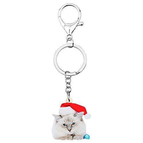 HXYKLM sleutelhanger van acryl, kerstmuts, kat, katje, katje, katje, katje, sleutelhanger, voor auto, portefeuille, beurs, sleutelhanger voor vrouwen en meisjes, decoratie, charme geschenk, accessoires