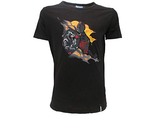 Epic Games T-Shirt Originale Fortnite Bambino Ragazzo Cavaliere Nero Maglia Nera Maglietta (11/12 Anni)
