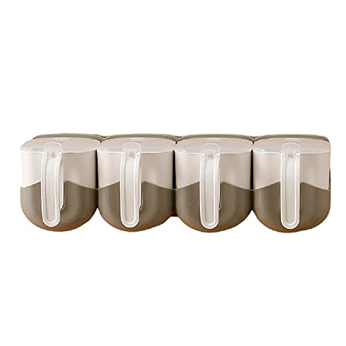 HYDL Seasoning Box Spice Rack, Multifunction Wall Mounted Plastic Storage Container for Restaurant Home Kitchen Sugar, Salt,Tea, Herbs, Salt Pepper and Other Spices Storage-gray_4PCS