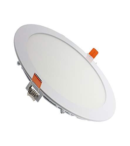 LEDUNI ® Pack de 5 Unidades Downlight Placa Panel LED Redondo 20W Circular 2000LM Color Blanco Frío 6000K Angulo 120 IP40 OPAL Aluminio 225 * 12Hmm Dimension de corte 205mm