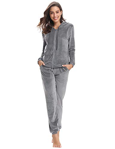 Abollria Women's Long Sleeve Solid Velour Sweatsuit Set Hoodie and Pants Sport Suits Tracksuits Light Grey