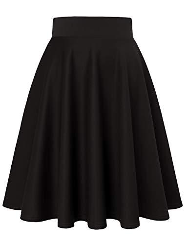 MuaDress 9002 Damen Mädchen Basic Kurz Rock Solide Glocken dehnbaren informell Röcke Schwarz Knielang M