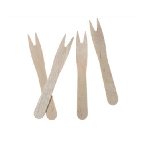 tradingbay24 Pommes-Frites-Gabeln, Holz 8,5 cm tbU90104 Pommes-Picker Holz-Picker unweltfreundlich, 1000 Stück