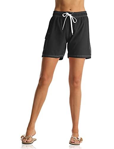 ninovino Women's Swimwear Trunks Quick Dry Elastic Waistband Swim Shorts with Cargo Pocket Black L