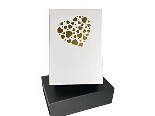 Hochwertige Geschenk-Magnet-Box, viele Möglichkeiten zur Gestaltung, fertig dekoriert, mit Herz Motiv, DIN A4 Format 33x22x10cm, weiß, kein Aufwand, für Alle die nicht verpacken wollen
