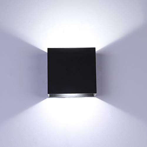 Glighone Lampada da Parete Led Interno, 10W Bianco freddo dimmerabile LED Applique da Parete Moderna, Up Down Lampada a Muro in Alluminio, Perfetto per Soggiorno Corridoio Bagno (Nero)