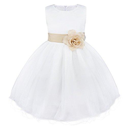 iiniim Mädchen Kleid Festliche Prinzessin Kleider Blumenmädchenkleider Weißes Taufkleid...