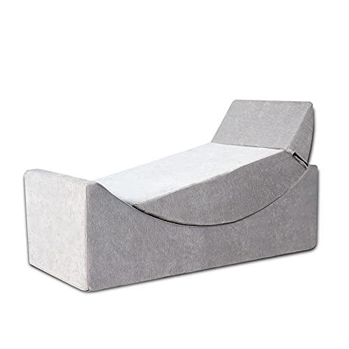CCLIFE 2in1 Sofa verstellbar waschbar Sitzsack Set Liege Kinder Erwachsene mit Füllung Spielsofa Couch, Farbe:Grau