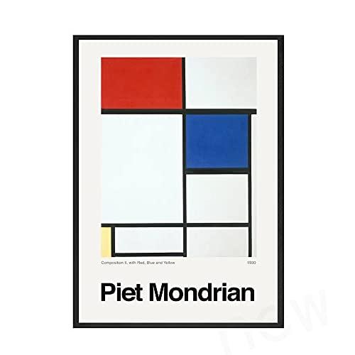 Póster clásico de Mondrian Art, impresiones y carteles de líneas rojas, negras y blancas, pintura en lienzo sin marco familiar D 60x90cm