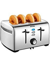Aicok Toaster, 4-Slice Toaster with 7 Browning Control, Defrost/Bagel/Cancel Function, Extra Wide Slots, Removable Crumb Tray, Smooth Stainless Steel