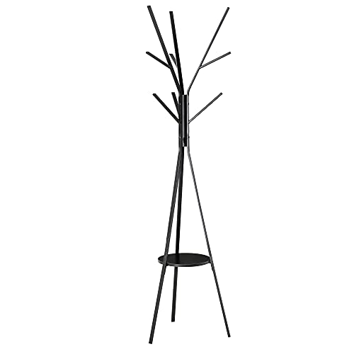 homcom Appendiabiti Attaccapanni da Terra Verticale Moderno per Ingresso Nero 45x45x180cm