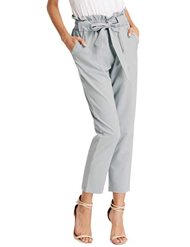 GRACE KARIN Women High Waist Pencil Pants Slim Fit Casual Trousers Light Gray M