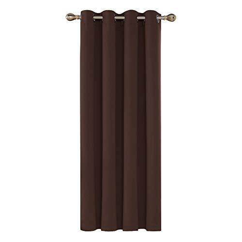 Deconovo Cortina Dormitorio con Aislamiento Térmico de Color Liso Decoración Hogar 1 Pieza con Ojales 140 x 260 cm Chocolate