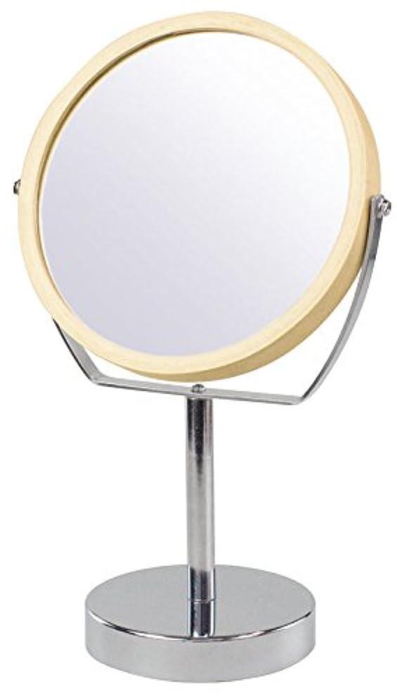 刺激するテレックス松の木ウッドフレーム 2WAY 5倍拡大鏡付 両面 卓上ミラー (ハイスタンドタイプ) ナチュラル YWM-2