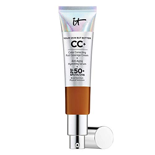 IT Cosmetics Your Skin But Better CC+ Cream, Rich Honey (W) - Color Correcting Cream, Full-Coverage Foundation, Anti-Aging Serum & SPF 50+ Sunscreen - Natural Finish - 1.08 fl oz