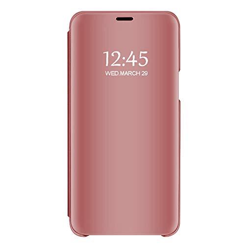 Funda Huawei P20, Carcasa Huawei P20 Lite Espejo Funda Mirror Flip Case Ultra Delgada Leather PC Hard Anti-Scratch Protector Cover Caso Cáscara Case para Huawei P20 Pro (Rose Gold, Huawei P20 Pro)
