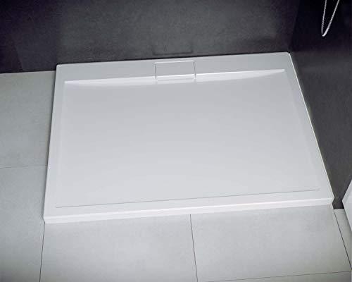 ECOLAM Duschwanne Duschtasse flach Axim Rechteck 120 x 90 cm Tiefe 2,5 cm Acryl weiß + Siphon + Silikon bodenebene Montage möglich (120x90 cm)
