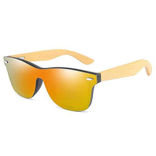 SXCYU Fashion bamboe zonnebril retro dames heren spiegel zonnebril retro tone bril, 03