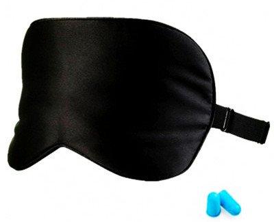 Máscara de dormir de seda con correa elástica ajustable para dormir y viajar, color negro