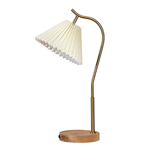 SHYPT Lámpara de Mesa Japonesa nórdica Lámpara de Dormitorio Plisada Cálida Chica Estudio Teléfono móvil Teléfono inalámbrico Lámpara de Noche de Carga