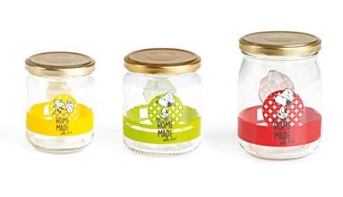 Excelsa Peanuts - Juego de 3 Botes para conservas, Multicolor, Capacidad: 500, 300 y 200 CC