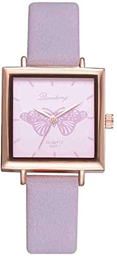 JZDH Mano Reloj Wristwatch Square Butterfly Watch Female Horloges Vrouwen Women Watch Reloj de Cuero Analógico Cuarzo Reloj de Lujo Casual Business Relojes Decorativos Casuales (Color : Morado)