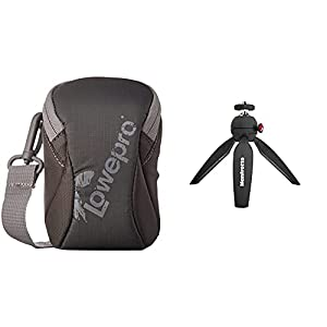Lowepro LP36441-0WW, Dashpoint 20 Bag for Camera with Protective EVA Padding, Slate Grey & Manfrotto MTPIXI-B, PIXI Mini Tripod with Handgrip for Compact System Cameras, Black