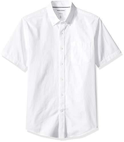 Amazon Essentials Herren Oxford-Hemd, schmale Passform, Kurzarm, mit Brusttasche, Weiß (White Whi), XL