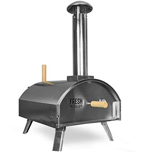 Fresh Grills Steel Outdoor Pizza Oven – Portable Wood Fired BBQ Pizza Maker Inc Raincover, Pizza Stone, Pizza Slice, Charcoal, Pellet, Wood burning (Stainless Steel Premium Double Wall)