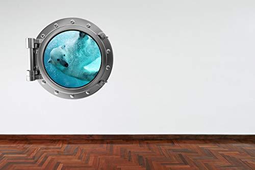 Volle Farbe Eisbär Bullauge V2 unter Wasser Meer Jungen Mädchen Badezimmer Wandsticker Aufkleber Kinder Schlafzimmer-Dekoration - Medium