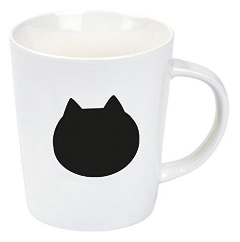Moses Ed, The Hot Cat Tasse | Kaffeetasse mit Thermoeffekt, Porzellan, Weiß, 9.3 x 8 x 11 cm