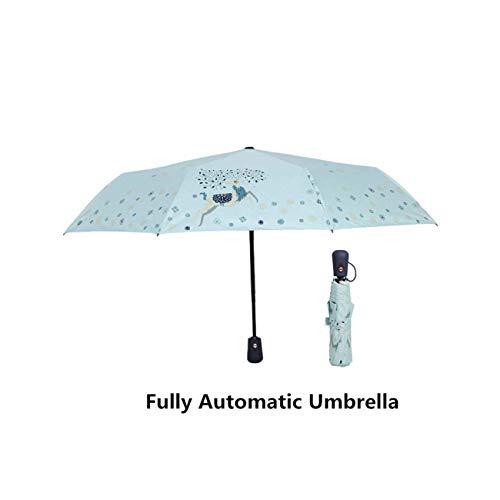 Tropical Pineapples And Flower Blue fashion print cute Windproof automatic tri-fold umbrella sun UV protection Sun umbrella