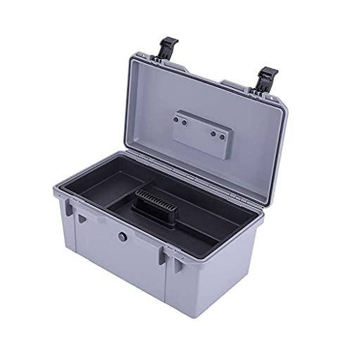 XBSXP Caja de Herramientas Impermeable con asa, Caja de Herramientas portátil de plástico con Bandeja Caja de Transporte extraíble de Doble Capa para reparación del hogar y almacenamient