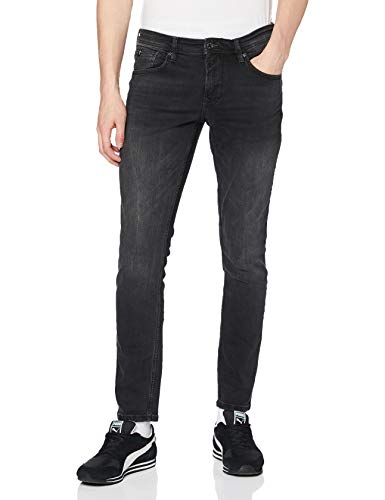 TOM TAILOR Denim Herren Culver Skinny Jeans, Schwarz (Used Dark Stone Blac(Black) 10250), W33/L34