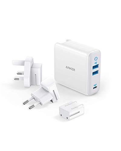 Anker PowerPort III USB-C 65W oplader met 3 laadpoorten, met PIQ 3.0 & GaN Type-C, US/UK/EU stekker voor reizen, MacBook, USB-C laptops, iPad Pro, iPhone, Galaxy en meer