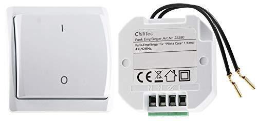 Funk-Schalter Set Pilota Casa Funk-Empfänger mit Wand-Schalter 230V Wechselschaltung LED bis 300 Watt Bis 70m Reichweite