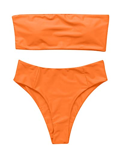 OMKAGI Women's 2 Pieces Bandeau Bikini Swimsuits Off Shoulder High Waist Bathing Suit High...