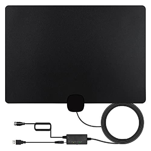 Antena, Antena DVB-T HD 1byone, Antena de TV Interior 4K 1080P para Antena Exterior con Amplificador - Negro/Cable de 5 m