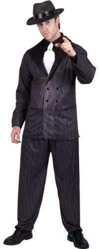 """Smiffys-23687M Disfraz de gánster, Chaqueta de Raya diplomática y Pantalones, Pechera de Camisa y Corbata, Color Negro, M-Tamaño 38""""-40"""" (Smiffy"""